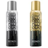Two Cans, One of Each Gold and Silver Glitter Hairspray, Spray On Hair and Body Shimmer Sparkle, Color Rebel by Redken by Color Rebel by Redken