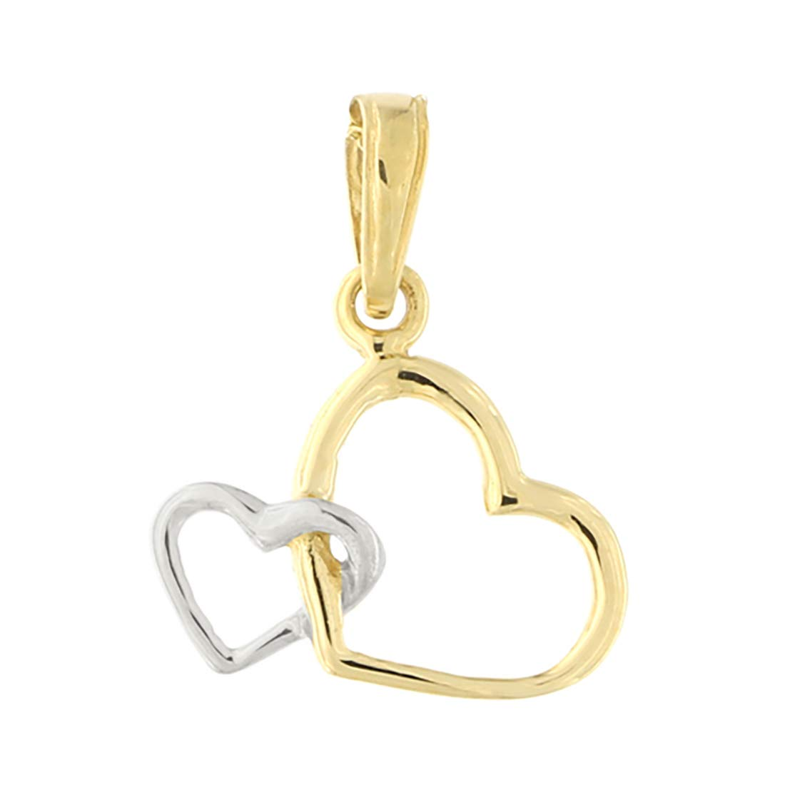 or Two Tone Interlocking Hearts Pendant Necklace 14k Yellow or Rose Gold White