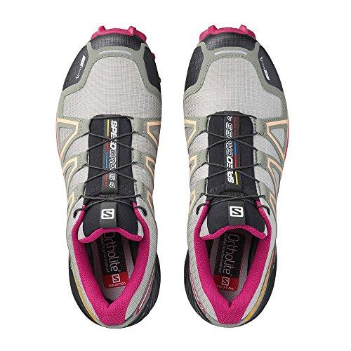 Salomon Dames Speedcross 4 Cs Trail Hardloopschoenen & Reserve Quicklace Bundel Shadow / Sangria / Perzik Nectar