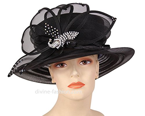 Womens Wide Brim Derby, Church Hat, Dressy Formal Hats #80562 (Black) by Ms. Divine Collection
