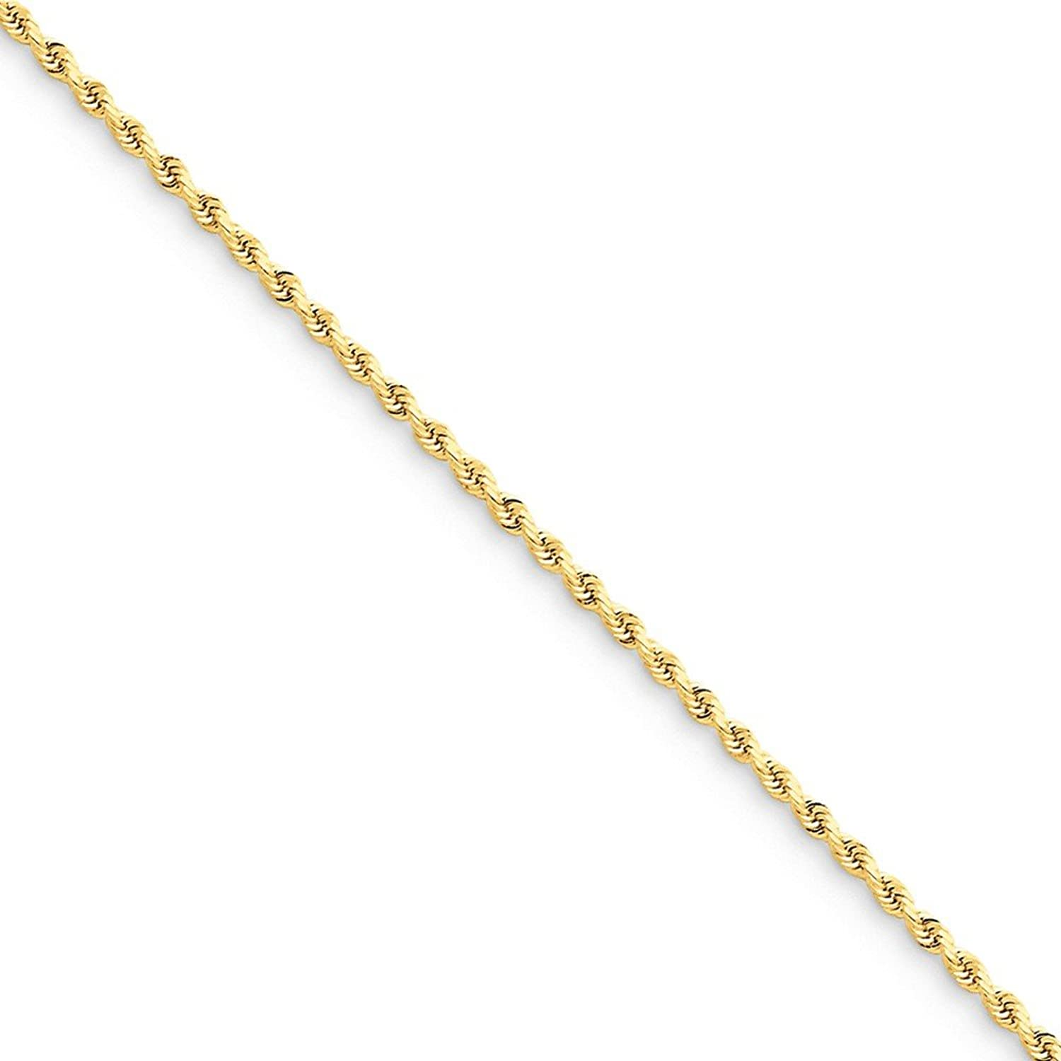 14k 1.75mm Diamond Cut Rope Chain Anklet