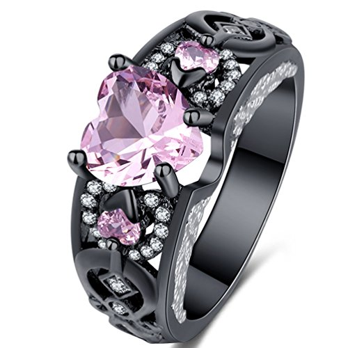 FENDINA [Purity Love] Women's Antique 18K Black Gold Plated Solitaire Wedding Engagement Rings Hearts and Arrows CZ Diamond Hearts Promise Rings Pink 6