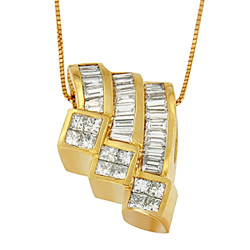 14k Yellow Gold (1 1/2ct TDW) Princess and Baguette-cut Diamond Triple Curved Pendant Necklace (G-H, SI1-SI2)