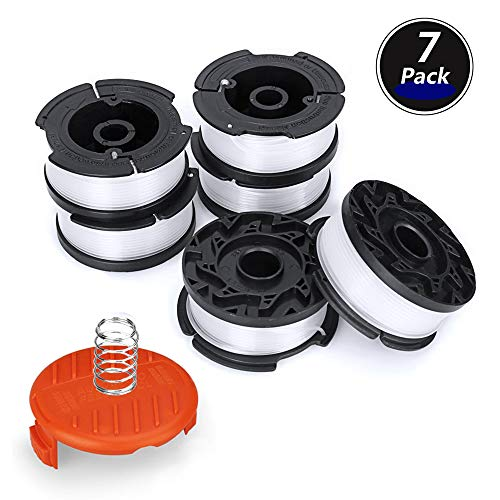 MiGaoMei Line String Trimmer Replacement Spool Compatible Black+Decker AF-100 String Trimmers,30ft 0.065″ Replacement Spool Trimmer 6 Pack Autofeed Spool, 1 Pack Trimmer Cap,1 Pack Spring