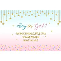 Renaiss 5x3ft Baby Shower Photography Backdrop Twinkle Twinkle Little Star Baby Gender Reveal Background Baby Shower Party Banner Decoration Cake Table Photo Studio Props Vinyl Wallpaper