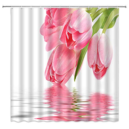 Lileihao Tulip Flower Shower Curtain Plant Water Surface Scenery Bathroom Decor Pink Floral Shower Curtains Set Waterproof Polyester Fabric Machine Washable 69 x 70 Inch with Hooks