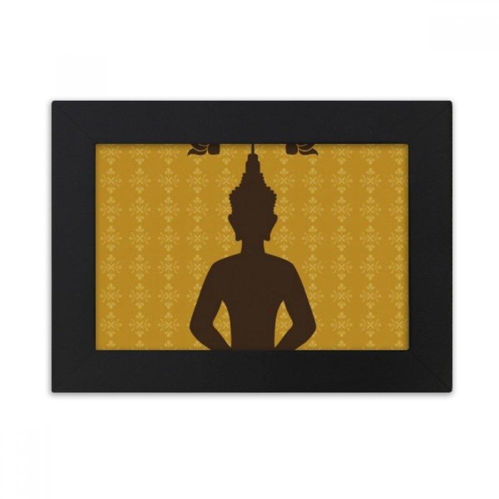 DIYthinker Thailand Culture Buddhism Buddha Statue Desktop Photo Frame Black Picture Art Painting 5x7 inch