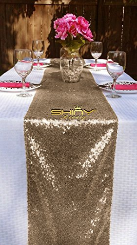 ShinyBeauty 12x72-Inch Rectangle-Chocolate-Sequin Table Runner- For Wedding/Party/Decor (12x72-Inch) (Chocolate)