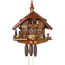 German Cuckoo Clock 8-day-movement Chalet-Style 23.00 inch - Authentic black forest cuckoo clock by Hönes