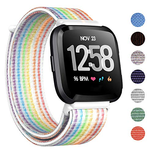 CAVN Nylon Bands Compatible with Fitbit Versa/Versa Lite Bands for Women Men, Breathable Watch Strap Adjustable Closure Replacement Wristband Accessories (Rainbow)