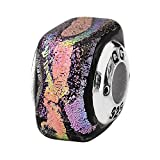 Sterling Silver Reflections Purple Square Dichroic Glass Bead