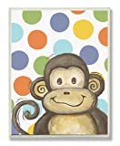 The Kids Room by Stupell Lil Buddy Monkey with Polka Dots Rectangle Wall Plaque