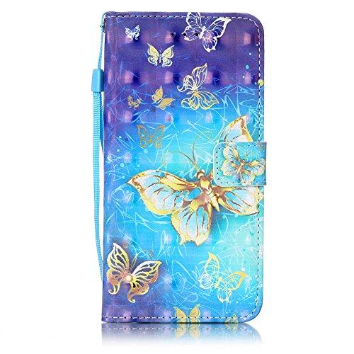 iPhone 8 Plus Wallet Case, iPhone 7 Plus (5.5 Inch) case, JanCalm [Card/Cash Slots][Wrist Strap][3D Painted] Design Dual- Use Flip Pattern Premium PU Leather Fold Wallet Cover with Pen (Butterfly)