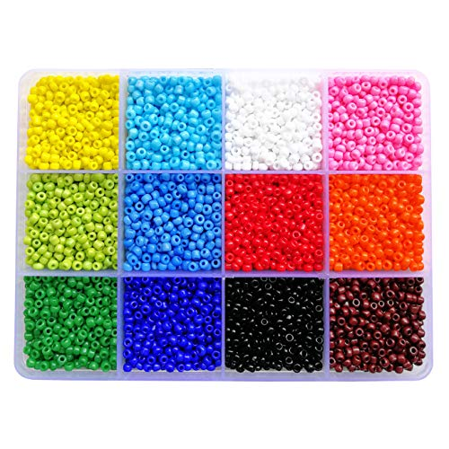 BALABEAD 7200pcs in Box 8/0 Glass Seed Beads Loose Spacer Beads, 3mm Opaque Seed Beads, Hole 1.0mm (600pcs/Color, 12 Colors)