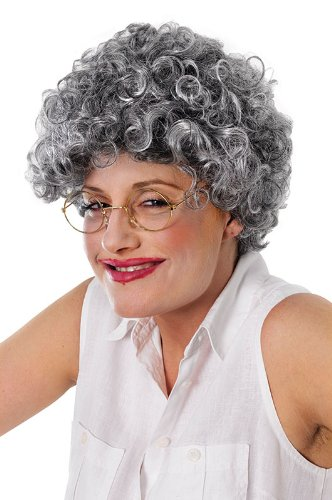 Grey Adults Old Lady Curly (Old Lady Adult Wig)