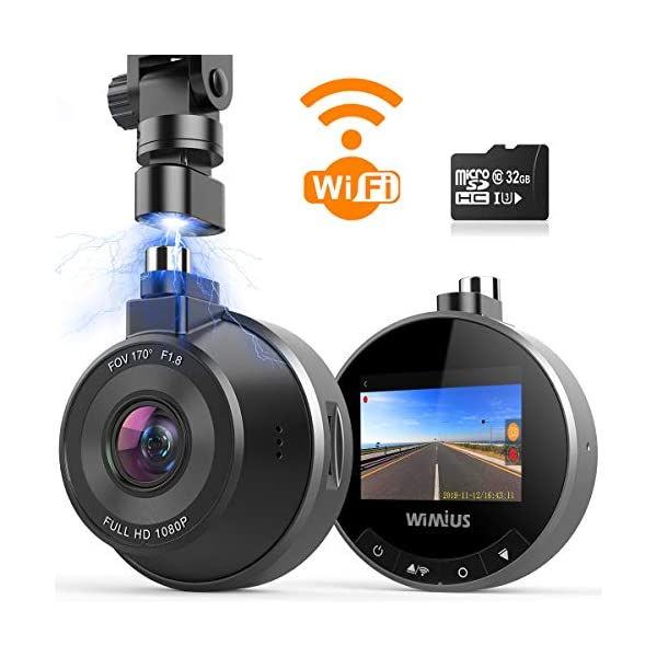 Dash Cam WiFi, WIMIUS 1080p Dash Camera for Cars, Magnetic Car Camera Recorder with...
