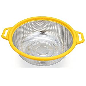 Stainless steel strainer vegetables basin drain basket Wash rice and basket,yellow
