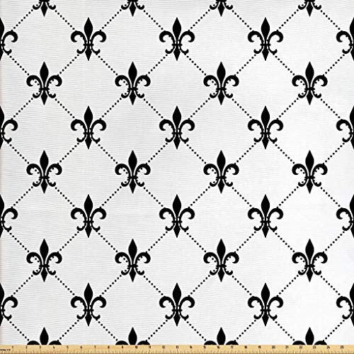 Fleur De Lis Upholstery - Ambesonne Fleur De Lis Fabric by The Yard, Checkered Dotted Pattern with Monochrome Abstract Lily Flower Revival, Decorative Fabric for Upholstery and Home Accents, 2 Yards, Black White