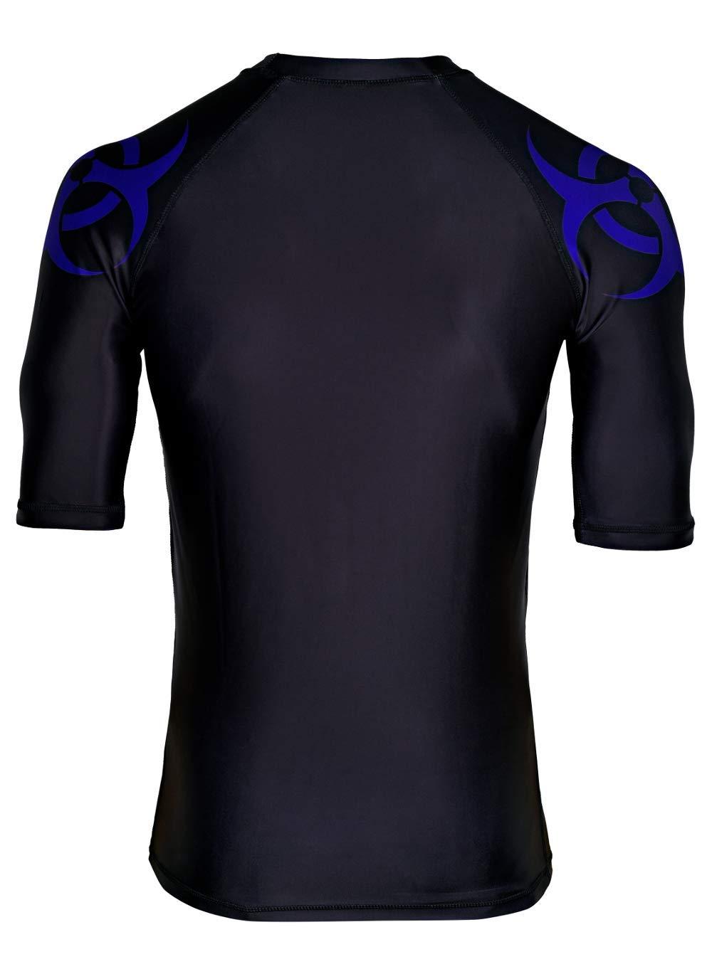 Destroy Inc BJJ Short Sleeve Rash Guard Blue Belt