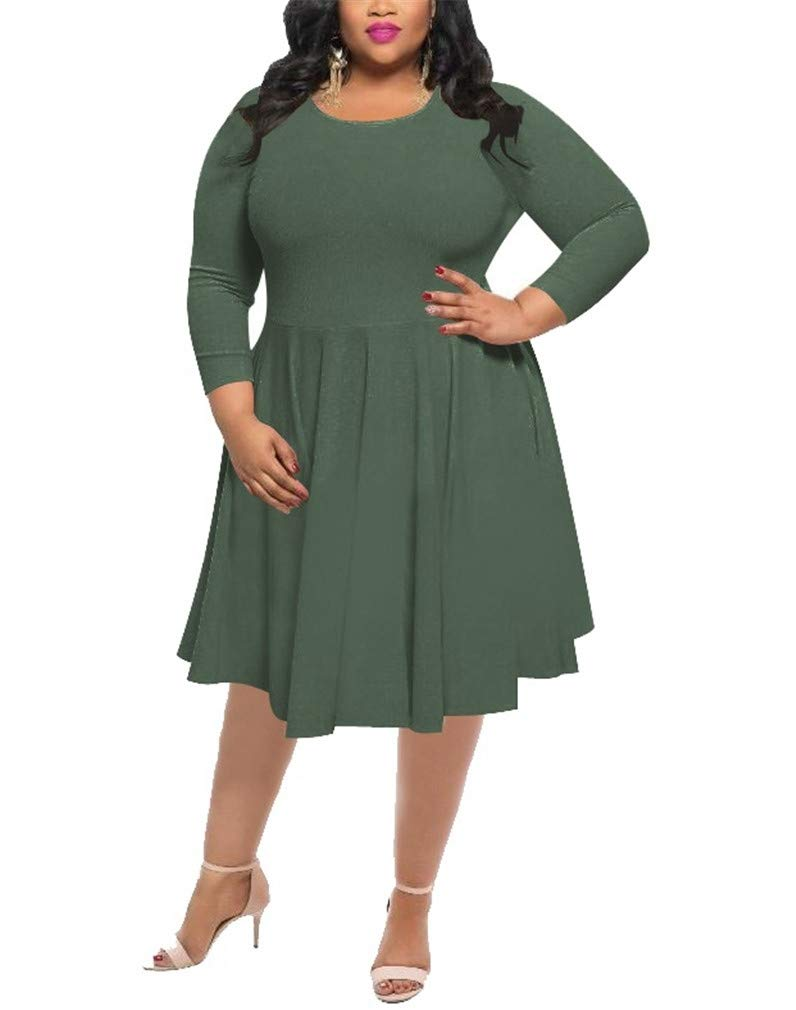 Vanbuy Womens Long Sleeve Plus Size Dress Pleated Casual Work Party Dress Z184-6492-Army Green-XL