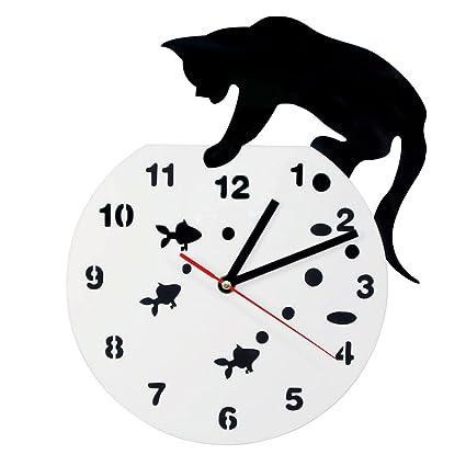 Reloj de pared con diseño de gato en un pecero, adorable reloj de pared para