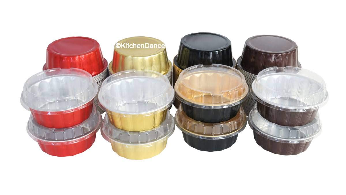 KitchenDance Disposable Colored Aluminum 8 oz. Individual Cake Cups- Tart Pans-Dessert Pans. Color and Lid Options #A8 (100, Black & Gold With Lids) by KitchenDance.com (Image #3)