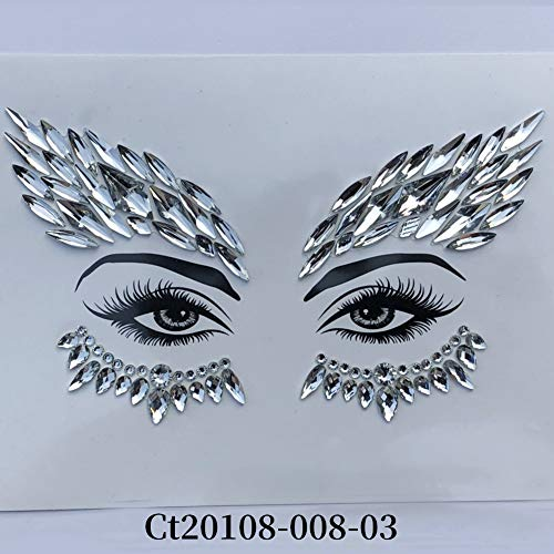 Mermaid Rhinestone Temporary Tattoos Halloween Face Makeup Tears Tattoo Sticker Jewels Tattoo Eye Glitter 3D(3#) -