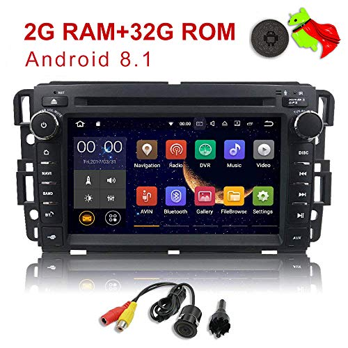 - MCWAUTO 2 Din Car in Dash Radio DVD Player Compatible GMC Buick Chevy Android 8.1 OS 2GB RAM Multi-Media Player WiFi 4G Bluetooth TPMS DAB+ OBD2 and Free Rear Camera/Pre-Loaded Map