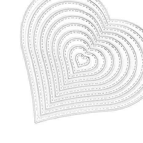 Espeedy Hilo de Coser Troquelado,Molde de la tarjeta,10 Unids / set Corazón de Acero Inoxidable Hilo de Coser Troquelado Para DIY Scrapbooking Álbum de ...