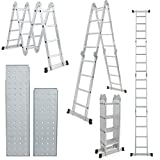 Comie 15.5ft Multi Purpose Aluminum Folding Step Ladder Foldable Lightweight Scaffold Ladder W/2 Plate