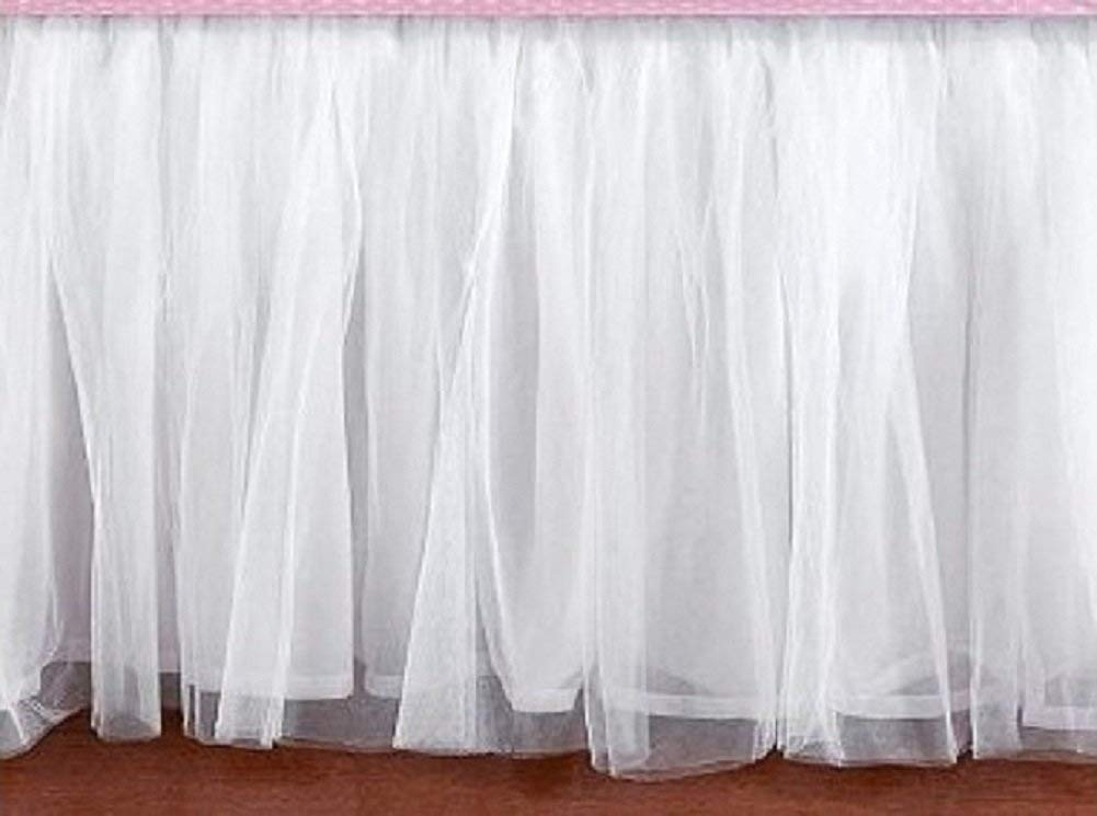 White Tulle Bed Skirt Dust Ruffle Platform Valance all Size drop 5 to 30 inch - detachable option