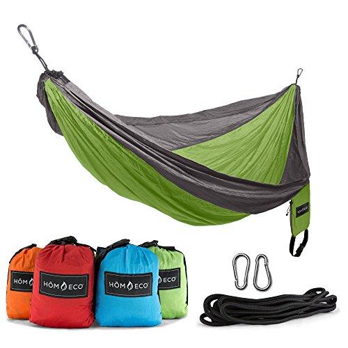 HŌMECO Double and Single Camping Hammock, Lightweight Nylon Parachute Travel Hammocks (Orange, Double)