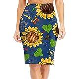 WOAIDY Sunflower Butterfly Pattern Women's Fashion Printed Pencil Skirt