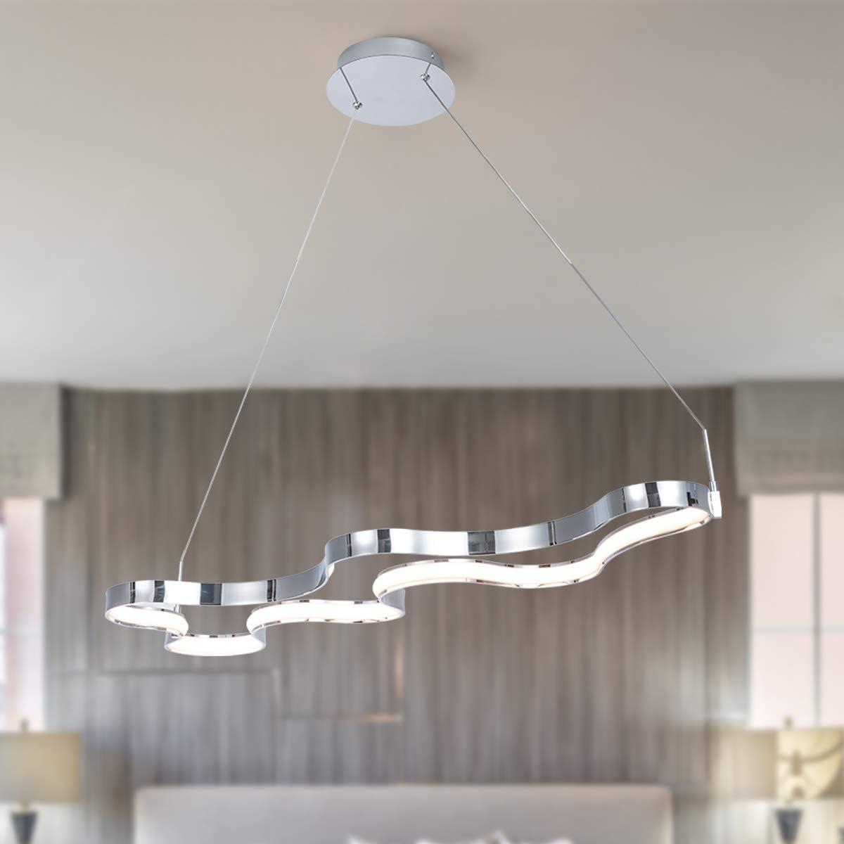 Modern Chandelier Not Dimmable LED Pendant Light Adjustable 1 Ring Creative Pendant Chandelier Fixture for Living Room Bedroom Foyer, CRI 90, Warm White 3000K, Chrome, by HL