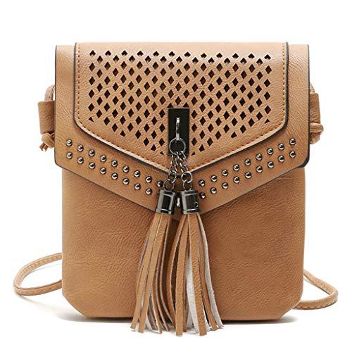 BOLUBILUY Women Small Crossbody Bag,Openwork Carved Tassel Cell Phone Purse Wallet Card Package Messenger Bag