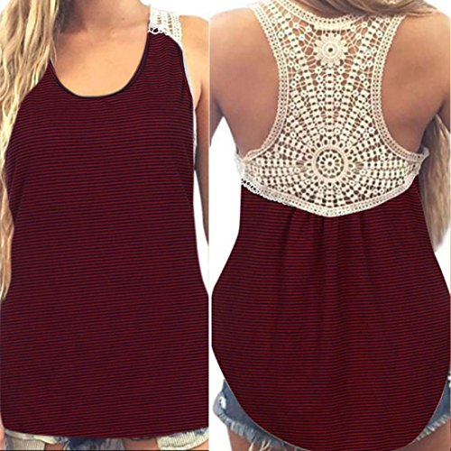 (Gillberry Women Summer Lace Vest Top Short Sleeve Blouse Casual Tank Top T-Shirt (Wine Red, US XS=Asian S))