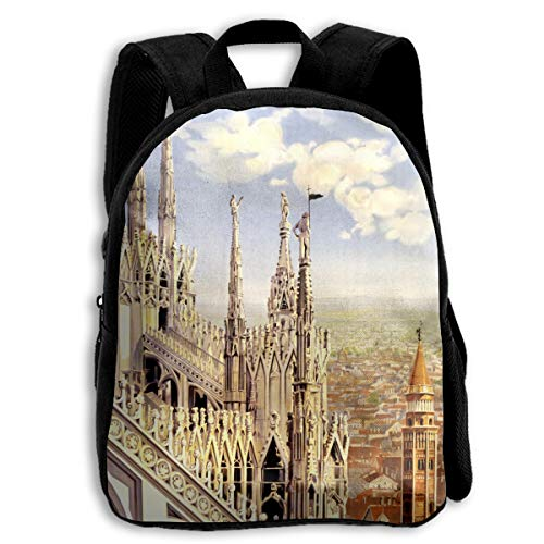 AACC-Bag Children's Bags Vintage Milano Travel Poster Boys and Girls Backpack¡¢600D Plain Oxford Coth -