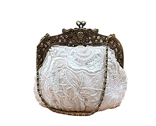 Satin Women's Beaded Wedding White Floral Handbag Handbag for Vintage Purse Evening Party qFtrnF