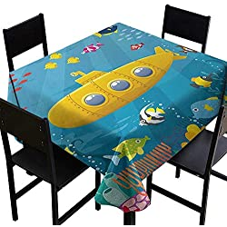 "Yellow Submarine Tablecloth for Square Table 60""x60"" Coral Reef with Colorful Fish Ocean Life Marine Creatures Tropic Kid Fabric Tablecloth Blue Yellow Pink"