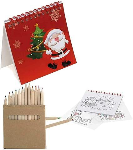Lote de 24 libretas con Plantillas Motivos Navideños más 24 Cajas con 12 lápices de Colores en Madera para Eventos Infantiles en Navidad: Amazon.es: Juguetes y juegos