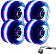 Light up Roller Skate Wheels with Bearings LED Quad Rollerskate Wheels Luminous Quad Roller Skate Wheels for D
