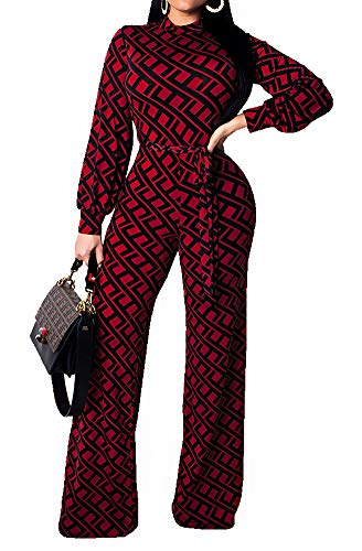 (Women's Sexy Long Sleeve Zipper V Neck Reversible Patterned Tie Waist Wide Leg Long Pants Palazzo Jumpsuit Rompers Ladies Outfits Clubwear Playsuit Wine Red,)