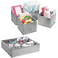 Voroly Foldable Cloth Storage Box Closet Dresser Drawer Organizer Cube Basket Bins Containers Divider with Drawers for Underwear, Bras, Socks, Ties, Scarves