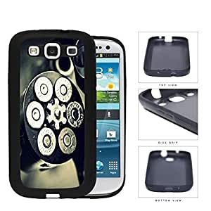 Black and Silver Gun Bullet Chamber with Bullets Loaded Rubber Silicone TPU Cell Phone Case Samsung Galaxy S3 SIII I9300