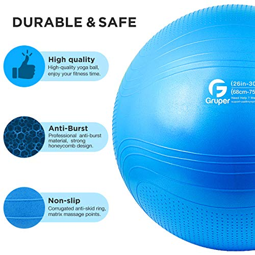 Gruper Yoga Stability Ball Extra Thick Exercise Ball for Fitness Balance Workout Anti Burst Chair for Home and Office Desk-Includes Hand Pump /& Workout Guide Access