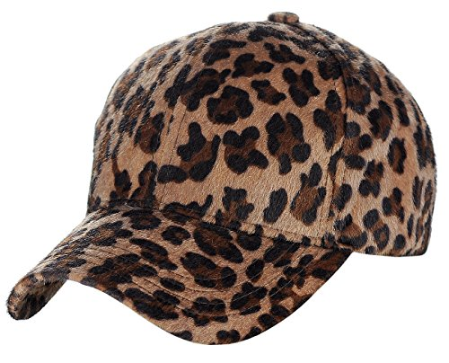 C.C Faux Calf Hair Feel Leopard Print Adjustable Baseball Cap Hat, Mocha