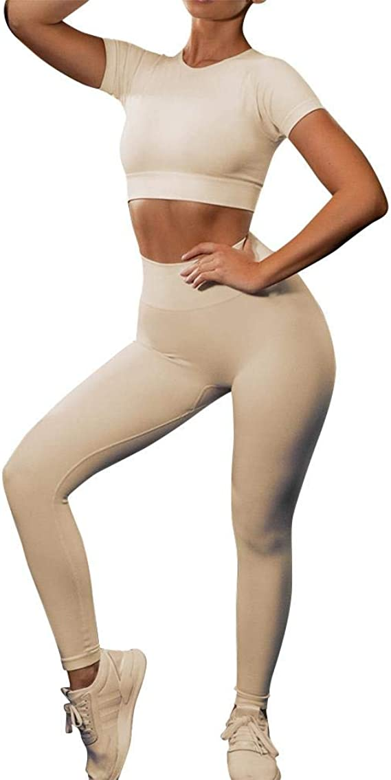 Charming Back Bow Top Stretch Legging Loungewear Tracksuit Two Piece Set N7