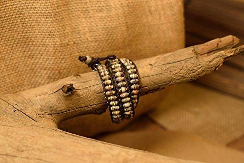 Paper Bead Unisex Triple Wrap Bracelet - Earthtone - Fair Trade BeadforLife Jewelry from Africa ()