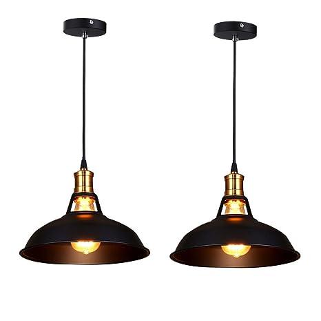 Fuloon Simplicidad Mini Metal colgante Vintage Loft Pared Apliques Lámpara de techo Portalámparas para Bombillas (2 x Negro)