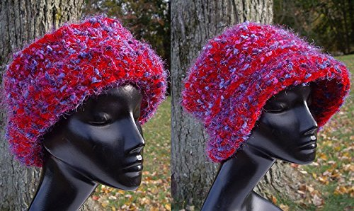 Reversible Shape Hat in Vibrant Red with Rose and Indigo Flecks - Cloche or Brimmed